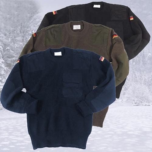 Warmer Winterpullover BW Pullover Outdoor Pulli Strickpullover oliv 48 bis 64