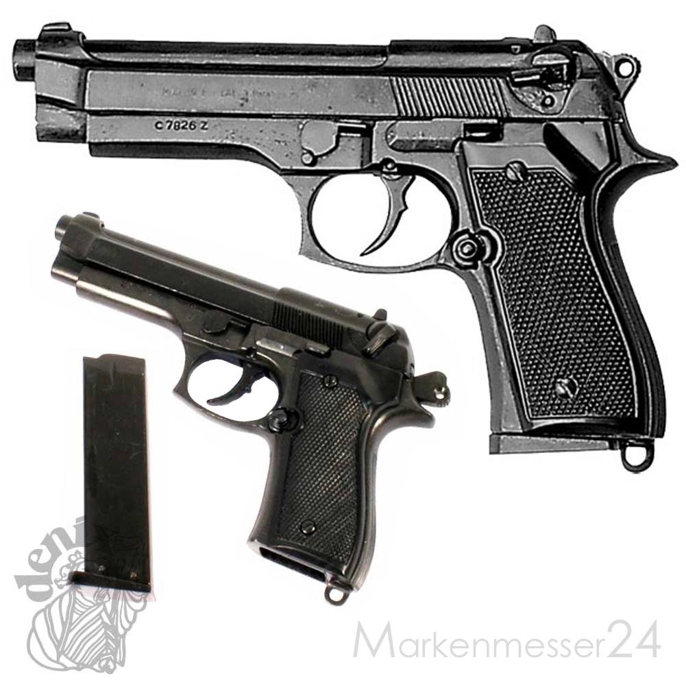italienische Polizei-Pistole 92 F .9mm Deko Nachbau Schusswaffe Metall