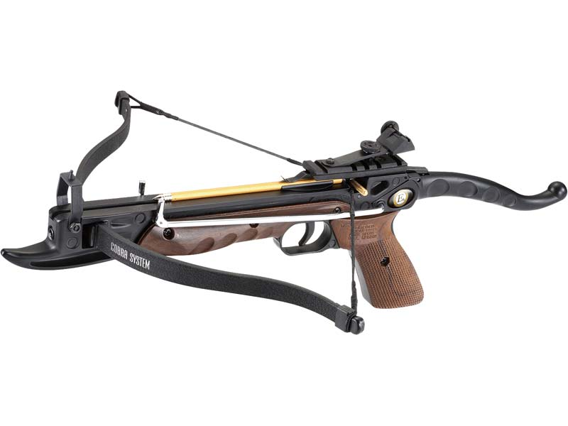Ek-Archery Armbrustpistole Cobra, Zuggewicht 36,3 kg(80lbs.), schwarzer Alukörper, Holzoptik, verstellb. Visier, 3 Bolzen