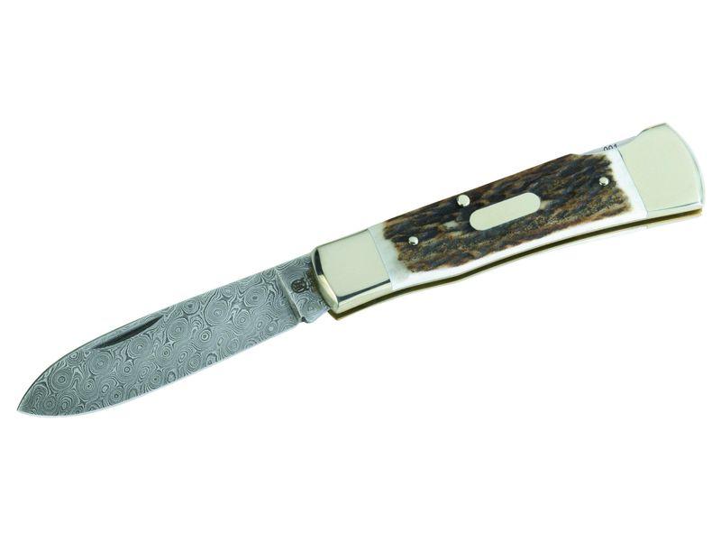 Hartkopf Damast-Taschenmesser, Limmited Edition, 300 Lagen Hirschhorn, Neusilber