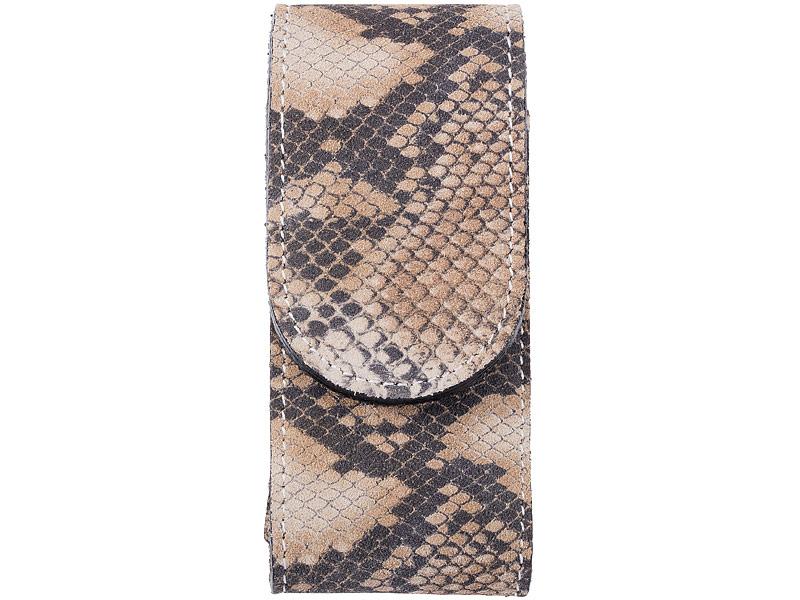 Herbertz Wildleder Etui, Snake, Klettverschluss, Gürteltasche, bis 12 cm