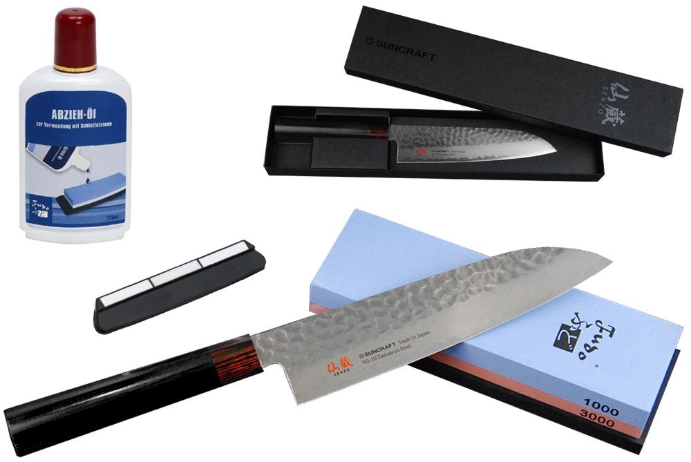 Japanisches Kochmesser Damast Kanetsu Santoku +Schleifstein +Öl + Schleifhilfe