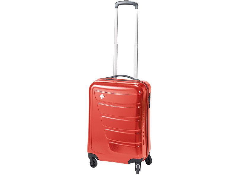 Swiza Koffer Justus, rot, Hartschalenkoffer, 4 Räder,   35 L