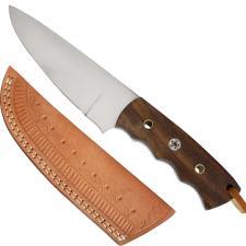 Messer Wurzelholzgriff mit Pins, verziehrte Köcher-Lederscheide