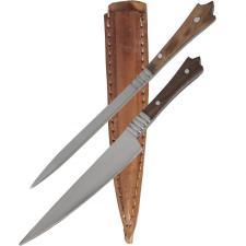 Mittelalter Besteck Set Messer + Pfriem Holz-Griff Lederscheide