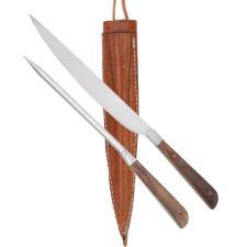Set Messer + Pfriem Mittelalter Besteck Holz-Griff