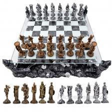 3d Schachspiel Mittelalter Schach mit Ritter Figuren und Schlachtfeld