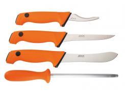EKA Butcher Set, 4-teilig, Sandvik-Stahl 12C27, orange, Polymere-Santoprene-Griffe, Transporttasche
