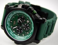 "Armbanduhr, ""FLIEGER"", Chronograph, grün, mit Etui"
