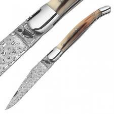 Laguiole-Messer,120 Lagen Rosendamast,Büffelhorn- Leder-Stecketui