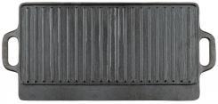 Grillplatte, Gusseisen,  2 Griffe, ca. 50 x 23 x 1,5 cm