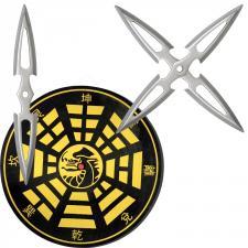 3x Doppel-Wurfmesser mit dicker Zielscheibe