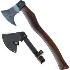 Damast Axt mit geschwungenem Holzgriff, Axtblatt mit Lederscheide