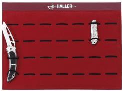 Taschenmesser-Präsentier-Platte rot mit Gummizügen
