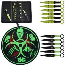 12 Wurfmesser + Zielscheibe und Nylon-Tasche Zombie Dead grün