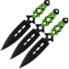 3 Zombie Dead Wurfmesser mit Nylonscheide  im Set