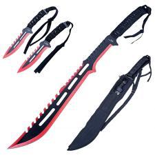 Coole Machete, Schwert + 2 Wurfmesser, schwarz-rot, mit Rückenhalterung