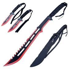 Coole Machete, Schwert + 2 Wurfmesser, schwarz-rot, mit Rückenhalterung asymmetrisch