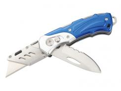 Herbertz Cuttermesser, AISI 420 Teilwellenschliff-Klinge,, Cutterklinge, Button Lock, blau-silberfarbene Aluschalen