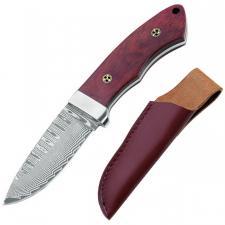 Damast-Messer,71 Lagen,Rosenholz,Mosaikpins,Lederscheide