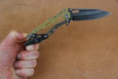 HERBERTZ Einhandmesser, 420er, Drop Point, Clip, Black Wash, Nylongriffschalen