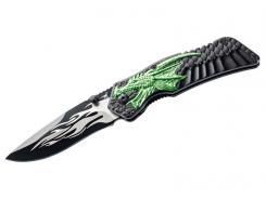 Herbertz Einhandmesser, Stahl AISI 420, schwarz beschichtet,, Daumenpin, Liner Lock, zweifarbige Aluschalen, Edelstahlclip