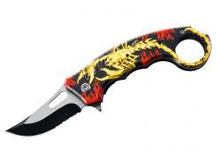 Herbertz Karambit Einhandmesser, AISI 420, teilbeschichtet,, Flipper, Liner Lock, Aluminiumgriffschalen, schwarzer Clip,
