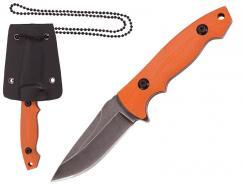 HERBERTZ Neck Knife, Full Tang Klinge, orange G10, Kydex Scheide