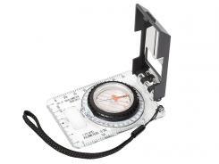 Herbertz-Plattenkompass, flüssigkeitsgedämpft 360›, transparente Grundplatte, Speziallupe