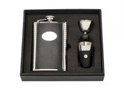 HERBERTZ Taschenflasche-Geschenkset, Edelstahl, 237 ml,, Leder, Trichter, 3 Becher im Lederetui, Monogrammfläche