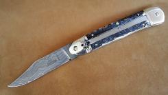 großes Damast Springmesser Hubertus Hechtklinge max 8,5cm