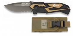 Taschenmesser Future Titan-Beschichtung Teilwellenschliff und Molle Etui