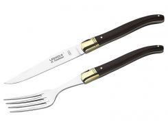 Laguiole Steakmesser + Gabel,in Holzbox,