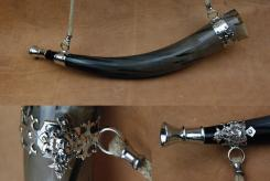 Premium Rufhorn 54cm Signalhorn Zinnband und Mundstück Löwe Wikinger