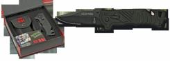 Rettungsmesser  RUI Taschenmesser Titan beschichtet mit Nylon-Etui Gurtschneider