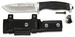 RUI Professionelles Outdoor-Messer mit Survival Feuerstarter, Lederscheide