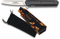 TOKISU Taschenmesser 9cm Tanto Straight G10 7Cr17MoV in Geschenk-Box