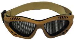 Airsoftbrille, beige, Metall-Gittereinsatz, Deko