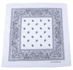 Bandana, weiß-schwarz, Gr. 55 x 55 cm, Baumwolle