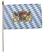 Fähnchen, Bayern mit Wappen, Plastikstiel, Gr. 10x15 cm