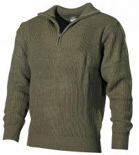 Isländer Pullover, Troyer, oliv, mit Reißverschluß