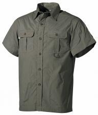 Outdoor Hemd, kurzarm, oliv, Microfaser, 2 Brusttaschen