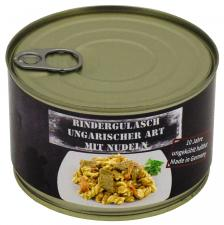 Rindergulasch ungar. m.Nudeln, Vollkonserve, 400 g, 7% Mwst.