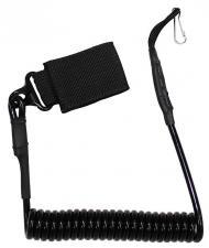 Sicherheitsband für Pistole, schwarz, mit Karabiner
