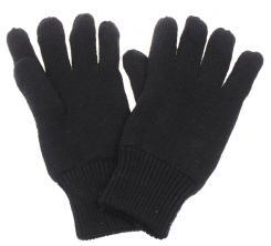 Strick-Fingerhandschuhe, Thermofütterung, schwarz