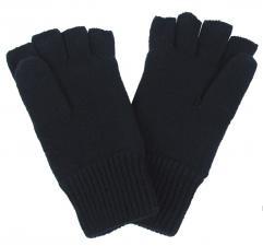 Strick-Handschuhe, gefüttert, schwarz, ohne Finger