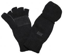 Strick-Handschuhe,ohne Finger, zugl. Fausthandschuh, schwarz