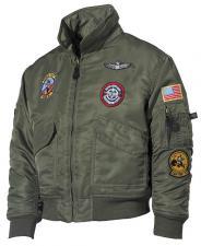 US Kinder-Piloten-Jacke, CWU, oliv, Bomberjacke - mit Größenangabe