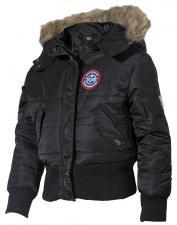 US Kinder-Polarjacke, N2B, schwarz, Kapuze mit Fellkragen + Größenangabe