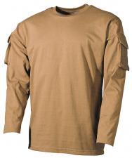 US Shirt, langarm, coyote, mit Ärmeltaschen